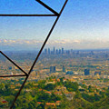 Power Lines Los Angeles Skyline by David Zanzinger