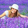 Pretty Woman On Lavender Field by Anna Om