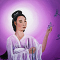 Quan Yin With Three Dragonflies by Laura Iverson