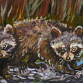 Raccoons From River Mural by Dawn Senior-Trask