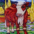 Red And White Bull Calf by Dianne  Connolly