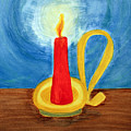 Red Candle Lighting Up The Dark Blue Night. by Lee Serenethos