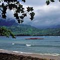 Red Canoe On Hanalei Bay by Kathy Yates