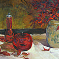 Red Glass And Nandina Leaves by Jimmie Trotter