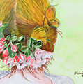 Red Hair And Apple Blossoms by Michele Ross