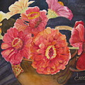 Red Zinnias by Donna Steward