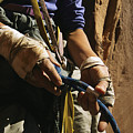 Rock Climber Becky Halls Wrapped Hands by Bill Hatcher
