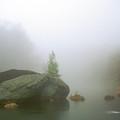 Rock House Reservation Carter Pond Fog by John Burk