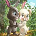 Romantic Cute Rabbits by Martin Davey