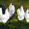 Rooster And Hens by Charlotte Yealey