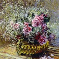 Roses In A Copper Vase by Claude Monet