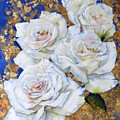 Roses With Gold Leaf by Diane Ziemski