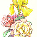 Roses With Yellow Iris by Kip DeVore