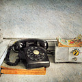 Rotary Dial Phone In Black S And H Stamps by Paul Ward
