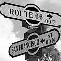 Route 66 Street Sign Black And White by Phyllis Denton