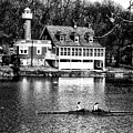 Rowing Past Turtle Rock Light House In Black And White by Bill Cannon