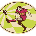 Rugby Player Kicking The Ball Retro by Aloysius Patrimonio