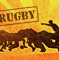 Rugby Players Engaged In Scrum  by Aloysius Patrimonio