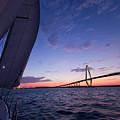 Sailboat Sailing Sunset On The Charleston Harbor  by Dustin K Ryan