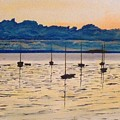 Sailboats Moored Clouds Front Ocean Sea Lake by William Tremble