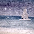 Sailing At Night Nautical Painting Print by Derek Mccrea