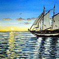 Sailing Day Sunset by Elizabeth Robinette Tyndall