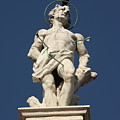 Saint Sebastian On Church In Venice by Michael Henderson