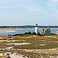 Sandy Neck Lighthouse With Fishing Boat by Charles Harden
