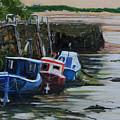 Seaton Sluice Harbour At Low Tide. by John Cox