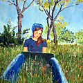 She Paints At The Lake by Sandy Krage