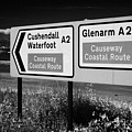 Signposts For The Causeway Coastal Route At Carnlough Between Cushendall And Glenarm County Antrim by Joe Fox
