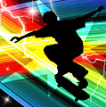 Skateboarder In Criss Cross Lightning by Elaine Plesser
