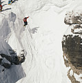 Skilled Skiers Plunge More Than 15 Feet by Raymond Gehman