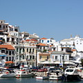 Skopelos Harbour Greece by Yvonne Ayoub