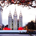 Slc Temple Red And White by La Rae  Roberts