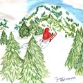 Sledding Wintertime - Www.jennifer-d-art.com by Jennifer Skalecke