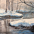 Snow On Riverbank by Debbie Homewood