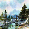 Snowy Lake Reflections by Debbie Lewis