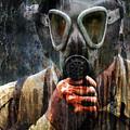 Soldier In World War 2 Gas Mask by Jill Battaglia