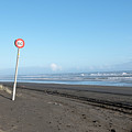 Speed Sign On The Ocean  Beach by Yurix Sardinelly