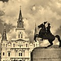 St. Louis Cathedral And Statue by John Malone
