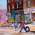 St. Viateur Bagel With Boys Playing Hockey by Carole Spandau