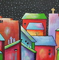 Starry Night In The Little City 2 by Janet  Telander