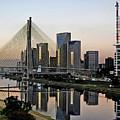 Stayed Bridge And Modern Sao Paulo Skyline by Carlos Alkmin