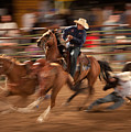 Steer Wrestling Action by Janice M LeCocq