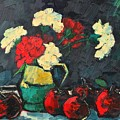 Still Life With Apples And Carnations by Ana Maria Edulescu