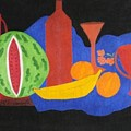 Still Life With Fruits And Glassware by Vijayan Kannampilly