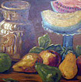 Still Life With Pears And Melons by Hilda Schreiber