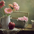Still Life With Pink Gerberas And Red Apple by Copyright Anna Nemoy(Xaomena)