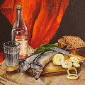 Still Life With Vodka And Herring by Roxana Paul